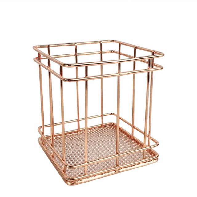 1PCS Gold Square Wood Stand Storage Basket Combination Holder Desk Desktop  Accessories Stationery Organizer Pen Holder