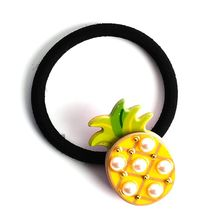 Korean Women Girl Cute Rubber Band Acrylic Colored Pineapple Coconut Tree Summer Hair Rope Imitation Pearl Beads Ponytail Holder