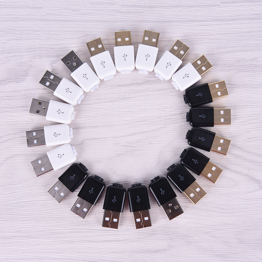 10pcs/lot USB Male Assembly Replace Adapter Connector Plug Socket Plastic Covering Line Block DIY Repair Accessories