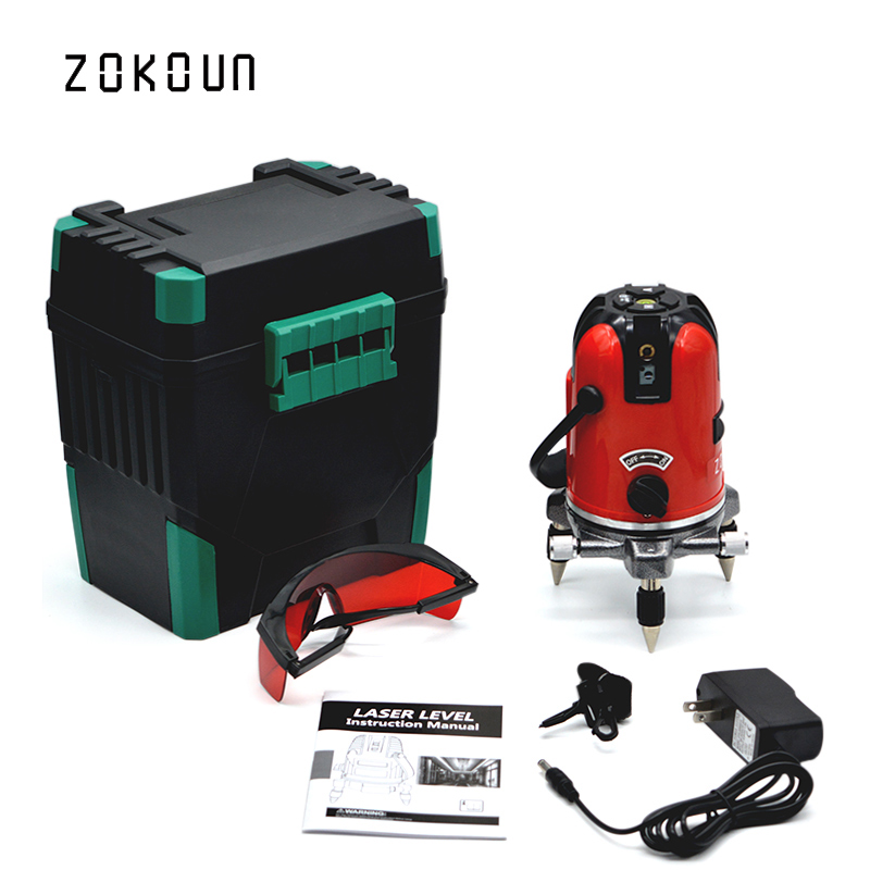 US PLUG New 2017 ZOKOUN model 05RCD 5 lines 6 points 360 rotary Self-leveling tilt slash functional cross laser line leveling eu plug tilt functional 5 cross lines 6 points self leveling 360 degree rotary red beam cross line laser with its tripod