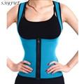Sayfut zip caliente sudor cintura entrenador dos lados son usables body shaper corsé pérdida de peso slimmimg control tummy shapers de estómago