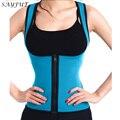 Trainer cintura sayfut zip suor quente dois lados são usáveis body shaper do espartilho perda de peso slimmimg controle tummy shapers estômago