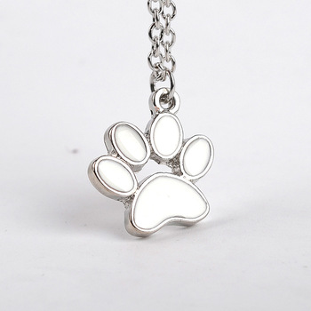 30 Animal Printed Love Heart Shape Necklace Pet Dog Bear Paw Pendant charm Necklace Paper-cut Animal Pet Foot Print Paw Jewelry