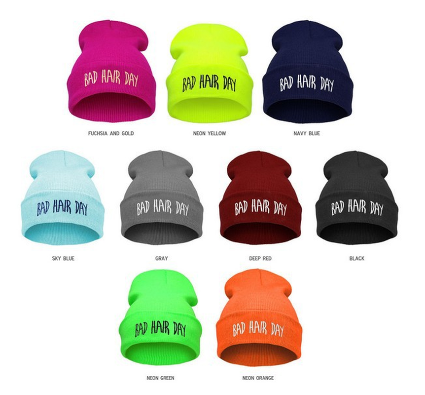 Bad Hair Day Beanie hat knitted wool 12 colors women winter
