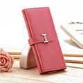 New pu leather long new purse candy color purse fashion ladies wallet H buckle hand bag for women