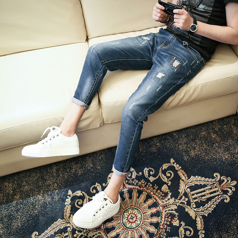 RX 2018 new arrival jeans men Fashion elasticity men's jeans high quality Comfortable Slim male pants ,blue and black