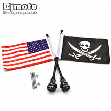 цены Bjmoto For Harley Sportster XL 883 1200 Touring Road King Glide FLHT Tail Luggage Rack Mount Pole Pirate Skull USA American Flag