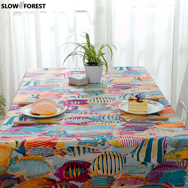 Slow Forest 100% Cotton Padded Tablecloth Cartoon Tropical Fish Sea Cover Towel Active Printing Home Table Cover Cloth Mat