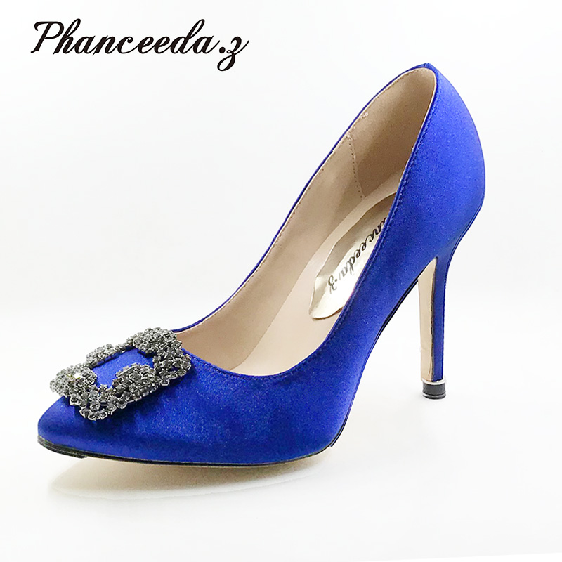 New 2018 High Quality Women Pumps Blue Sexy Basic Pointy Toe Stilettos High Heels Wedding Shoes Thin Heels  Free shipping new arrival women sky blue high heel slip on sexy stilettos white cloud decoration cute bride shoes wedding women stilettos pump