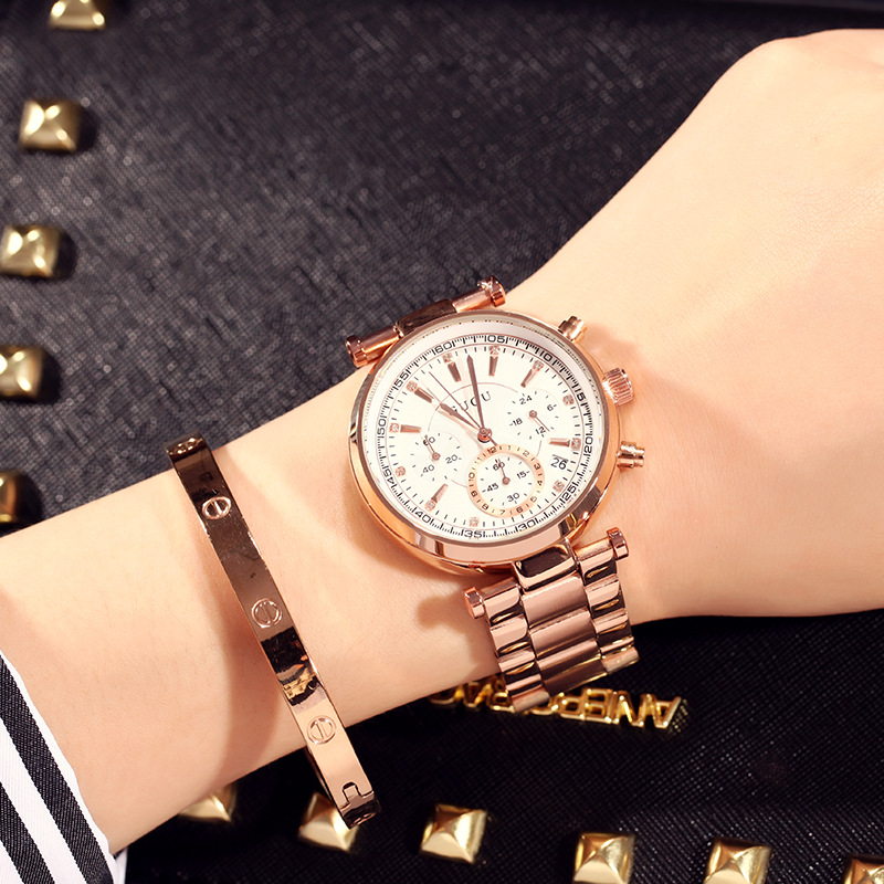 GUOU fashion 3 eyes rose gold steel quartz ladies watch luxury bracelet women watch reloj mujer montres femmes kobiet zegarka цена 2017