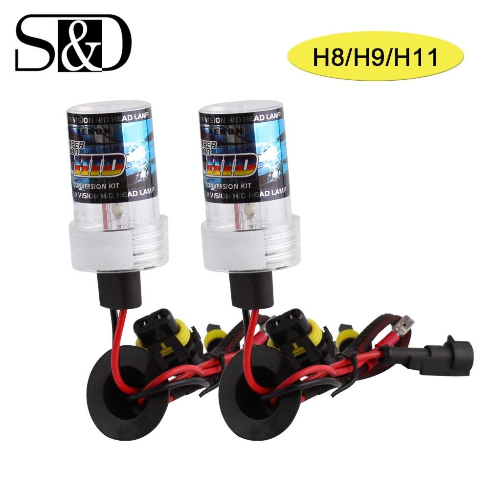 2pcs H8 H9 H11 Xenon HID Bulbs Fog Lights Auto Headlight Xenon Lamp Car Light Source 35W 55W 12V White Yellow 3000K 6000K D020