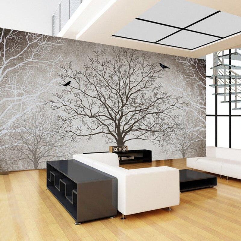 Retro Abstrakte Baum Zweige Vogel Große Wandbilder ...