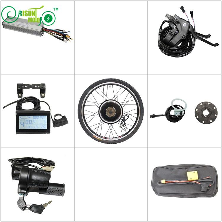 RisunMotor E Bike Conversion Kit 36V 48V 1500W Rear Motor Wheel 20 24 26 29e 700c 28 Controller LCD Brake Electric Bicycle ...