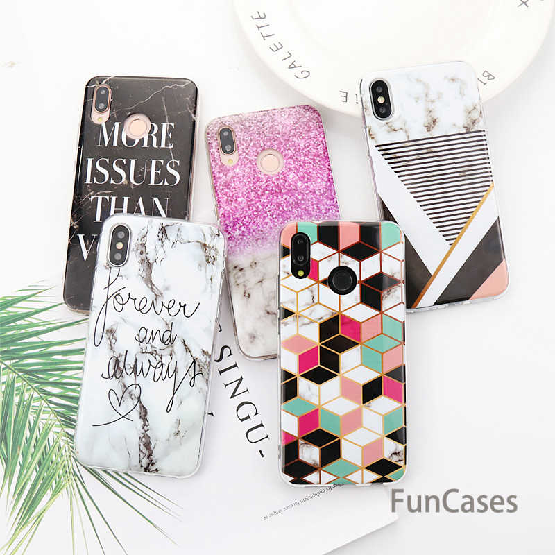 Marble Geometric Case For Huawei P Smart 2019 Y9 2019 Soft Gel TPU Silicone Cover For Huawei Mate 20 10 Lite Fundas Capa carcasa
