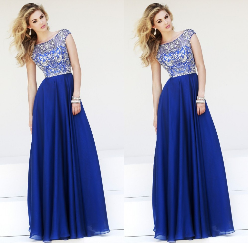 Luxury Crystal Beaded Modest Cap Sleeves Royal Blue Chiffon Long Prom Dresses 2015 New Vestidos Longo Abendkleider Evening Dress - Suzhou dreamybridal Co.,LTD store