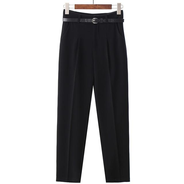 BGTEEVER OL Style White Women Pants Casual Sashes Pencil Pant High Waist Elegant Work Trousers Female Casual pantalon femme 6