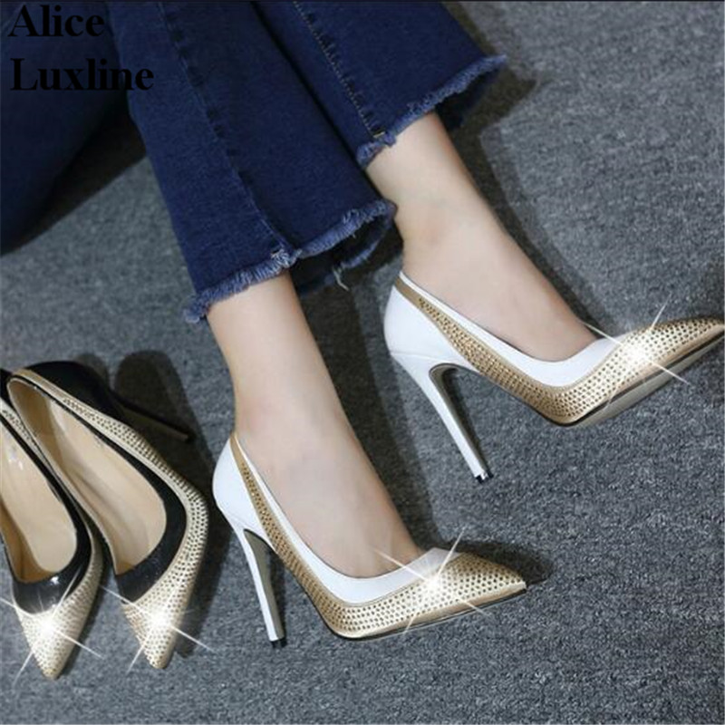 40 Size Rhinestone women pointed toe pumps shallow mouth high-heeled shoes Patchwork Party Club ladies zapatos mujer heels pumps koovan women pumps 2017 spring new shallow mouth pointed shoes heel pearl buckle with high heeled ladies shoes