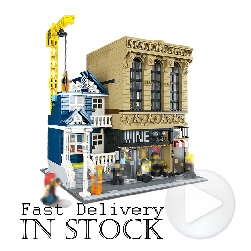 Lepin 15035 2841Pcs Creator Streetsight Bars and Financial Companies Building Blocks Bricks educational Toys for children gifts