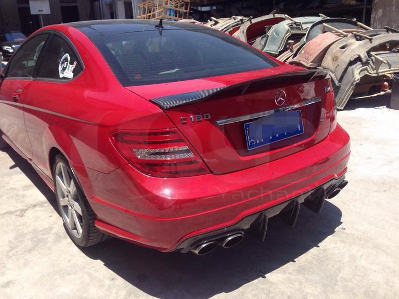 2008-2013 Mercedes Benz W204 Sedan C Class CLS-Renntech Style Rear Trunk Spoiler CF (4)