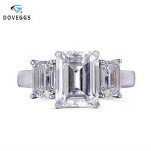 DovEggs 14K White Gold Center 2.7ct carat 7X9mm Emerald Cut Moissanite Diamond Engagement Rings For Women 3 Stones Ring