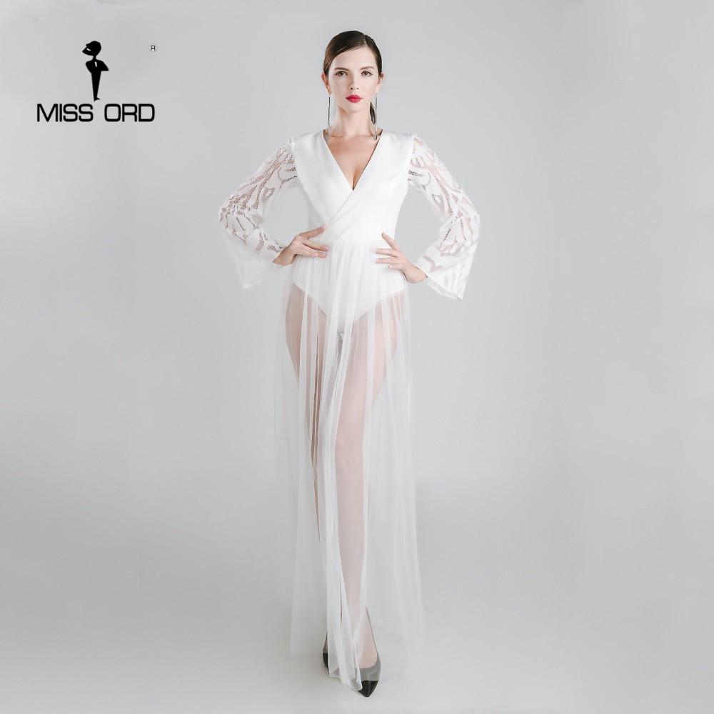 MISSORD 2018 Sexy V-neck long-sleeved LACE dress FT4901