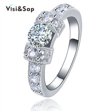 Vissap NEW Hot Wedding Rings for Women White Gold Plated jewelry Engagement bague fashion luxury party Jewellry Wholesale VSR142