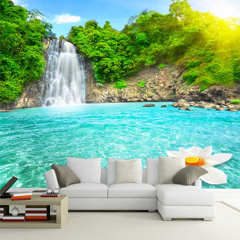 Natural Scenery 3D Wall Mural Forest Waterfalls Pools Photo Wallpaper 3D Room Landscape Living Room Sofa Backdrop Wall Papers