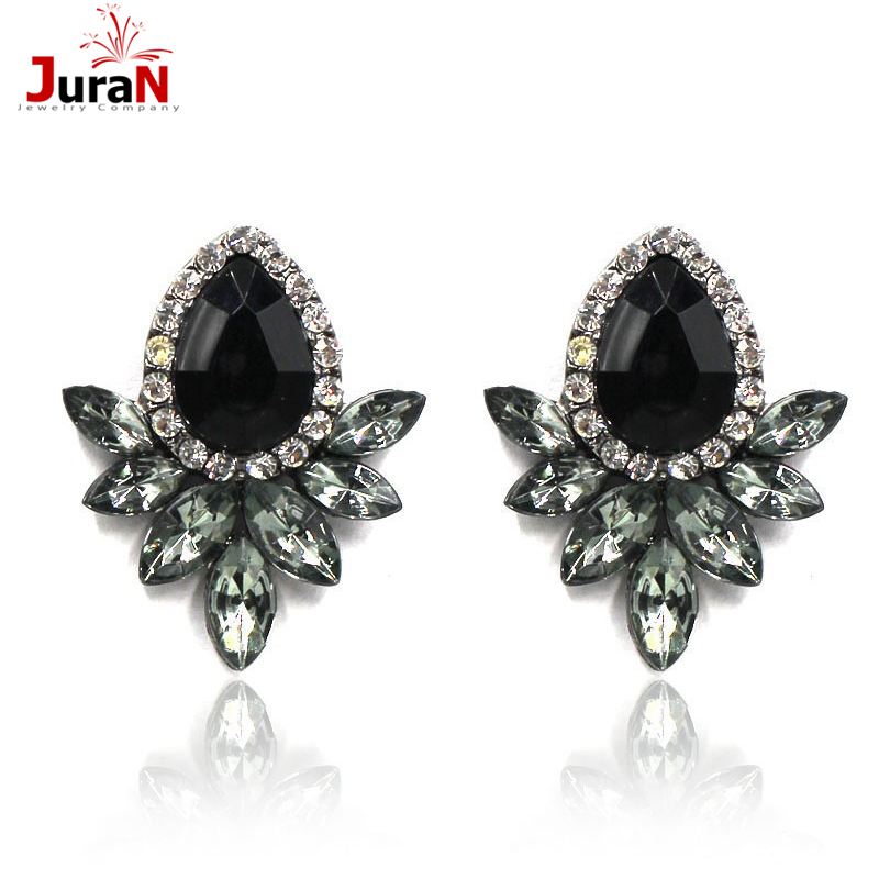 JURAN Womens Fashion Earrings Rhinestone Gray/Pink Glass Black Resin Sweet Metal With Gems Ear Stud Earrings For Women W3208