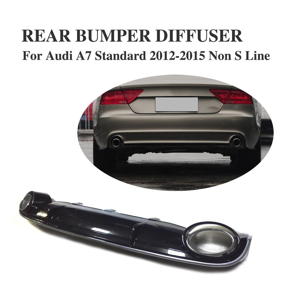PP Black <font><b>Rear</b></font> Bumper Lip <font><b>Diffuser</b></font> with Exhaust for <font><b>Audi</b></font> <font><b>A7</b></font> Standard Bumper Only 2012-2015 Non-S Non-SLINE image