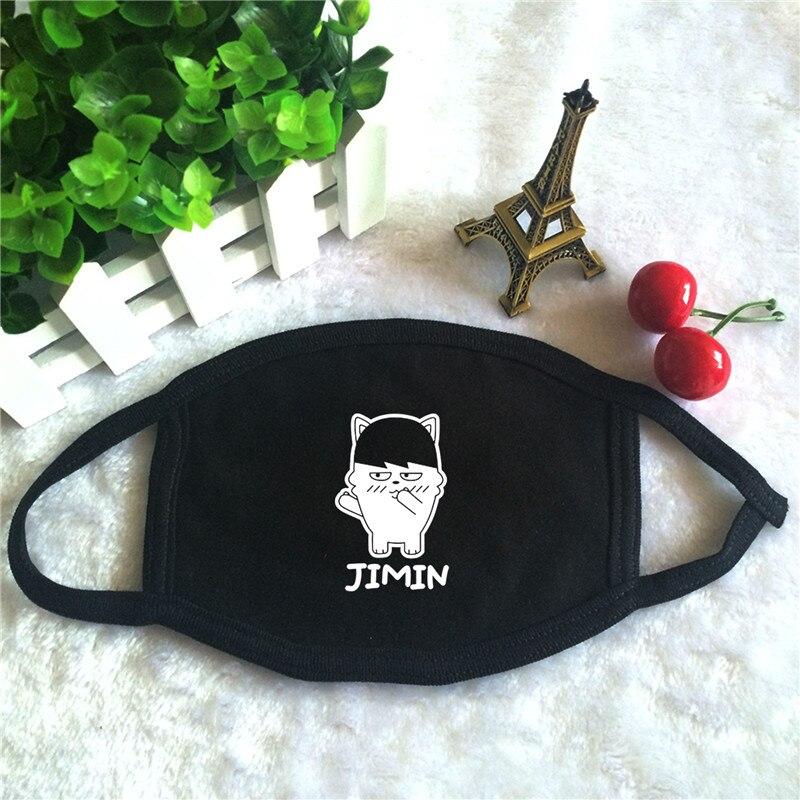 Kpop BTS Bangtan Boys JIMIN SUGA V Hip Hop Monster Character Doll Print K-pop Fashion Face Masks Unisex Cotton Black Mouth Mask