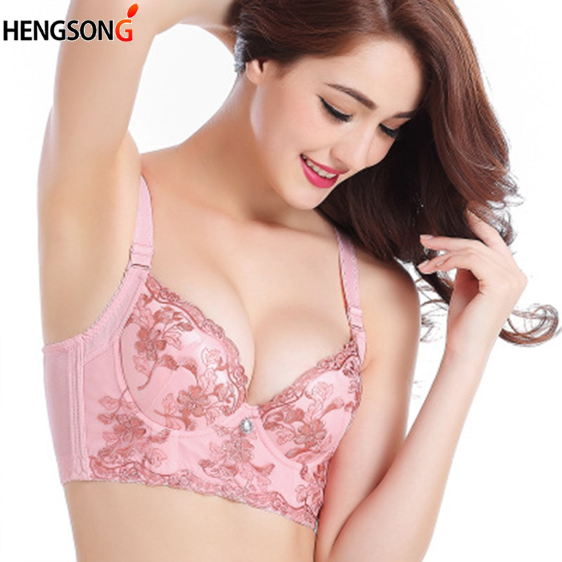 Hot Full Cup Thin Underwear Bra Wireless Gather Adjustable Lace Women's Bra Breast Cover Lace Floral Bras plus size bralette