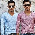 Hot 2017 Primavera Nuevo algodón de Los Hombres ocasionales Del O-cuello cuello slim fit camiseta aptitud camiseta de los hombres de Color de algodón Tops Tees