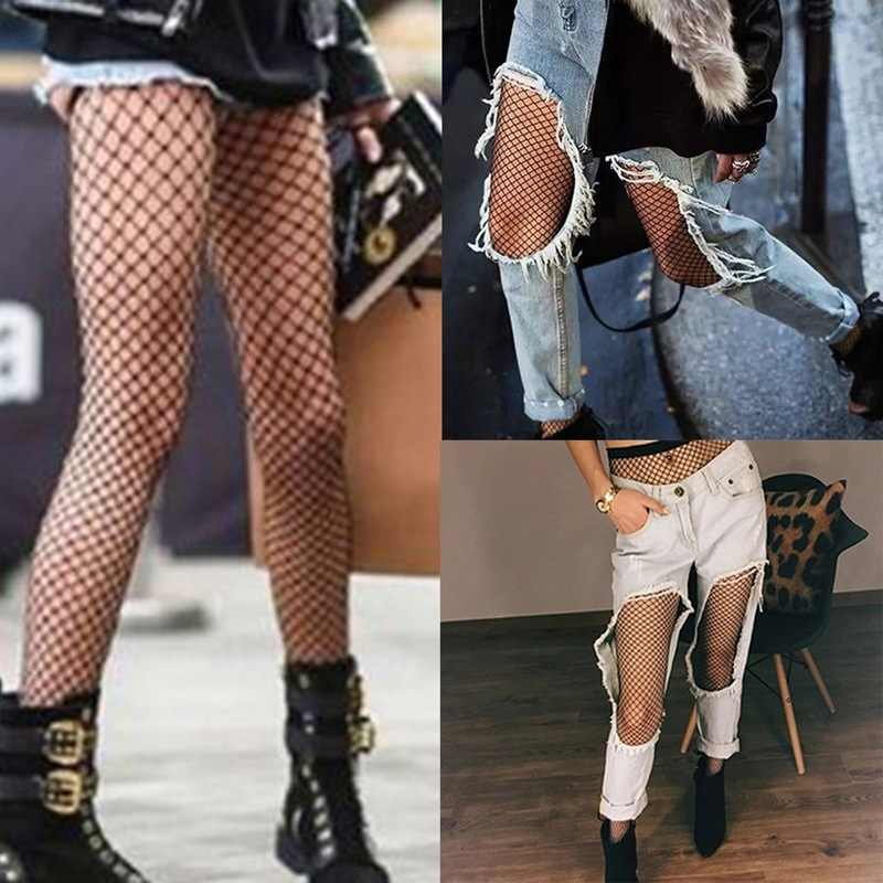 Oco para fora sexy meia-calça preto mulher meias meia fishnet meias clube festa meias calcetines feminino malha