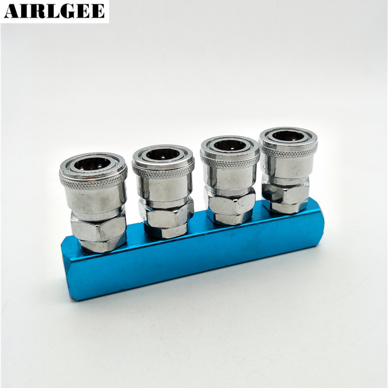 Silver Tone Pneumatic Distributor 4 Way Air Hose Quick Connect Coupling Tool gold tone air pneumatic adjustable 9 way oil distributor valve manifold block