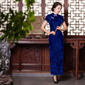 TIC-TEC chinese cheongsam long qipao blue velvet vintage slim party elegant evening women tradicional oriental dresses P2832