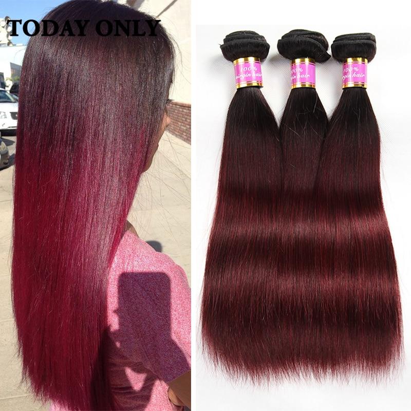 Dark Roots Burgundy Malaysian Virgin Hair 3 Bundles Deals Malaysian Straight Hair Straight Virgin Hair 1b 99j Ombre Human Hair