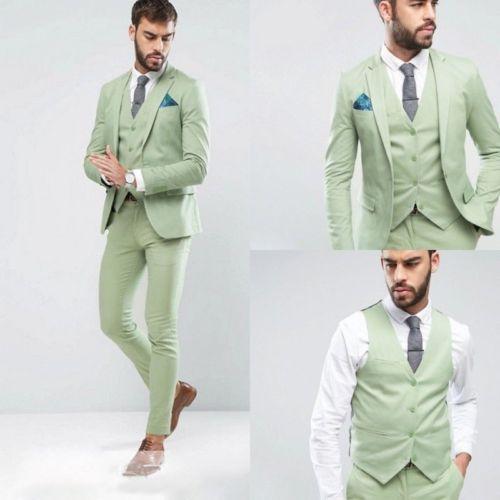 Latest Design Light Green Wedding Men Suit Groom Prom Tuxedo Terno Masculino Men Suits 3 Pieces ( Jacket+Pants+Vest)