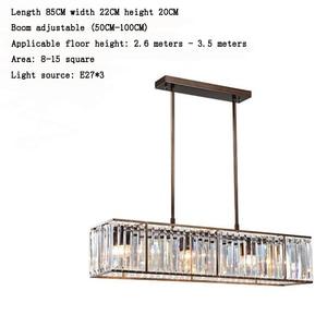 Image 4 - Jmmxiuz 3 אור אמריקאי בציר רטרו קריסטל נברשת תאורת חדר אוכל מסעדה תליית ברזל מוט תליון מנורה