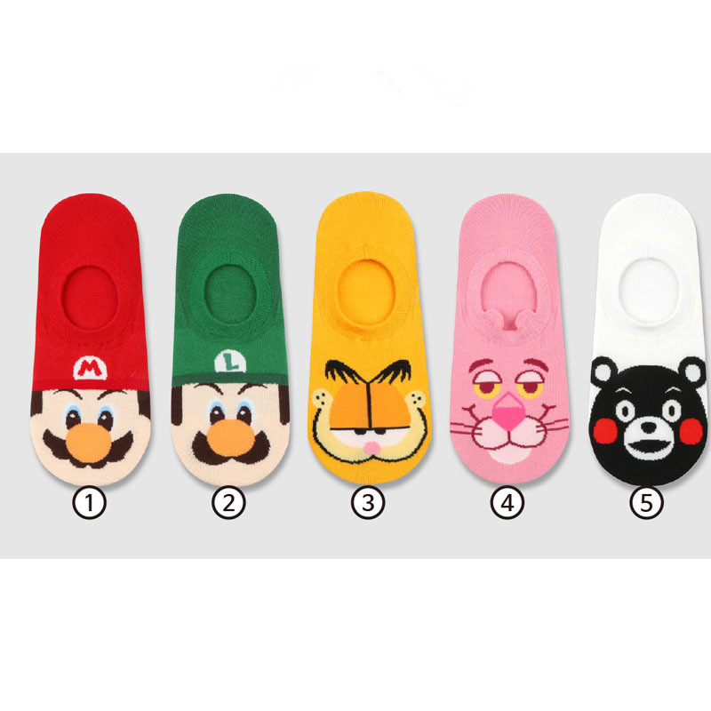 Anime Super Mario Bros   socks   Garfield Kumamon funny Cartoon invisible calcetines mujer cortos spring summer Fashion cotton   sock