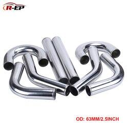 R-EP Универсальный воздухозаборник 63 мм 2,5 дюймовая алюминиевая трубка для гонок автомобиля интеркулер воздухозаборник 0/45/90/180 градусов L S Ти...