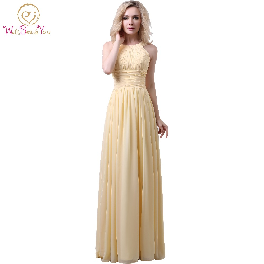Daffodil Bridesmaid Dresses Long Halter Neckline Chiffon Gowns Floor ...