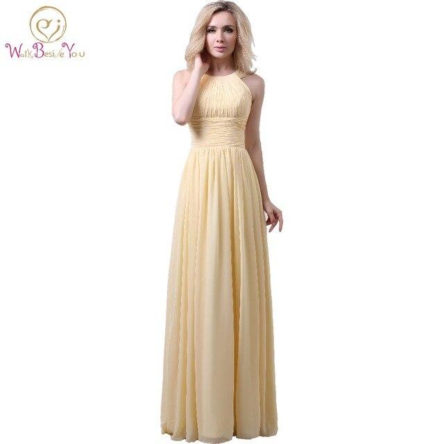 e9433994f Narciso vestidos de dama largo escote Halter gasa vestidos de longitud de  una línea plisados honor