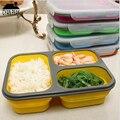 Складная микроволновая печь 1100 мл силиконовая коробка для завтрака Складная портативная большая емкость контейнер для еды ложка миски кор...