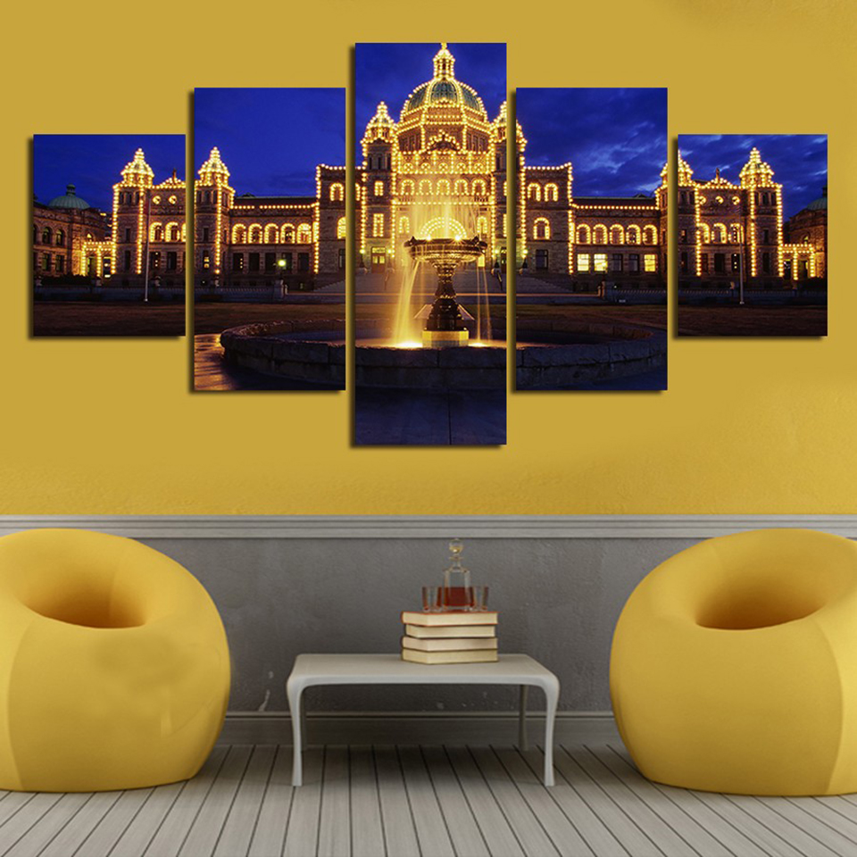 HD Print Modular Painting Canvas Wall Art Pictures 5 Panel Castle ...