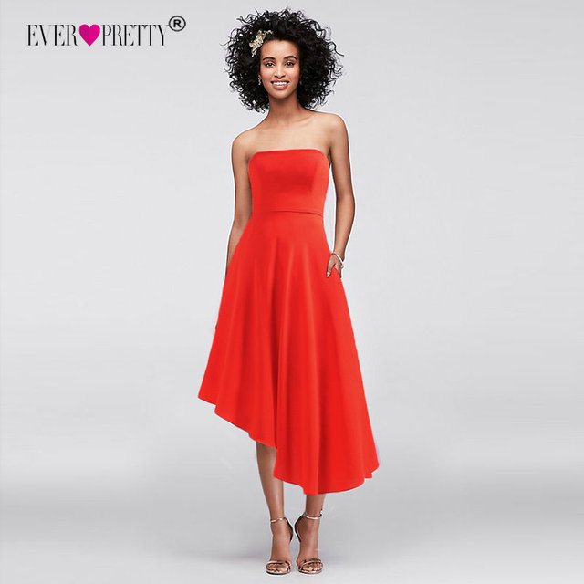 6b1e17db54 Tea-Length Prom Dresses 2018 Strapless Simple Candy Color Ever-Pretty  EP05979 Asymmetrical Orange Gala Dress Party robe cocktail
