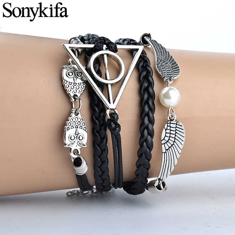 Sonykifa Vintage Leather Rope Harri Pot Deathly Hallows Bracelets Hand Weave Multilayer Bracelets for Movie Fans Jewelry Gift