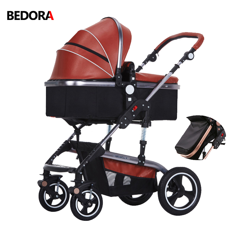 цена Bedora baby cart Leather stroller High landscape stroller Multi-gear adjustment Upgrade brake folding stroller four seasons
