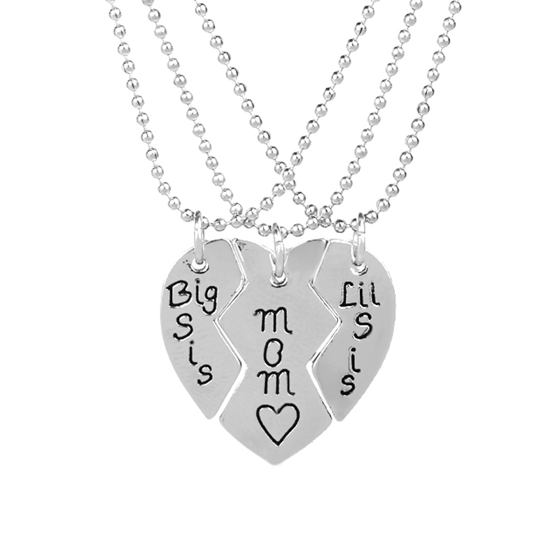 Mother Twins Daughter Necklace Set Mom Big Sis Lil Little sis 3pcs Broken Heart Shaped Pendant Necklace Mothers Day Gift