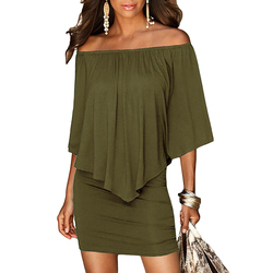 Army green slash neck women mini dress autumn style off shoulder sexy dresses vestidos black white.jpg 250x250
