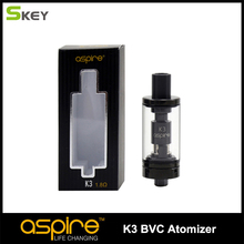 aspire brand qualified electronic cigarette vape atomizer aspire K3 glassomizer with 2ML capacity pyrex glass tank